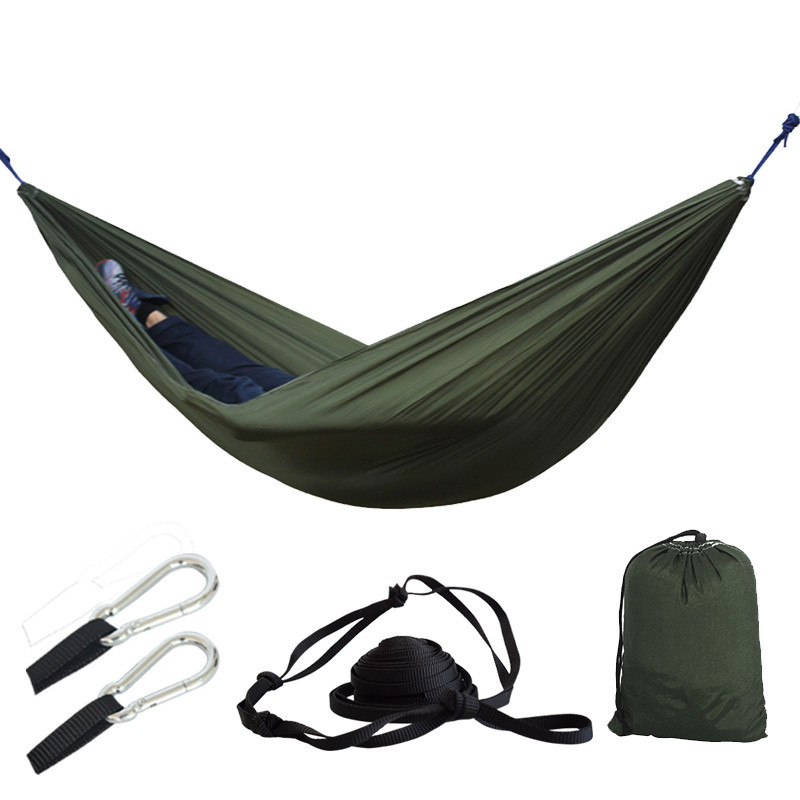 Portable Lightweight Parachute Nylon Hammock With Tree Straps For Backpacking Camping Travel Beach Garden Outdoor Camping Gear