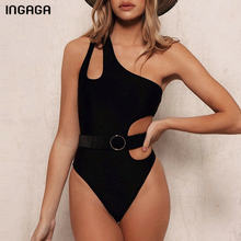 INGAGA One Shoulder One Piece Swimsuit Sexy Cut Out Swimwear mujeres traje de baño Monokini sólido 2020 Bañadores(China)
