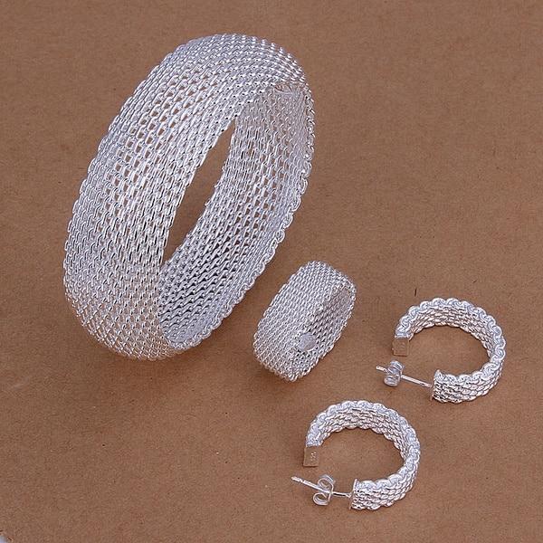 Ретро тканые серьги-гвоздики из стерлингового серебра 925 пробы с сетчатым кольцом, Подарочные ювелирные украшения для свадьбы и Рождества