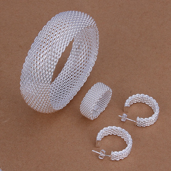 925 sterling silver wedding Christmas gift retro woven mesh Bangle ring Stud Earrings fashion fine jewelry Set