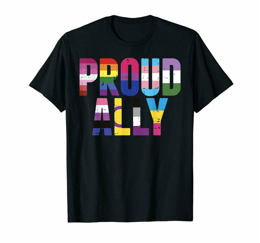 Proud Ally Lgbt Lesbian Gay <font><b>Bisexual</b></font> Trans <font><b>Pride</b></font> Month Black T-<font><b>Shirt</b></font> S-6Xl Summer Tee <font><b>Shirt</b></font> image