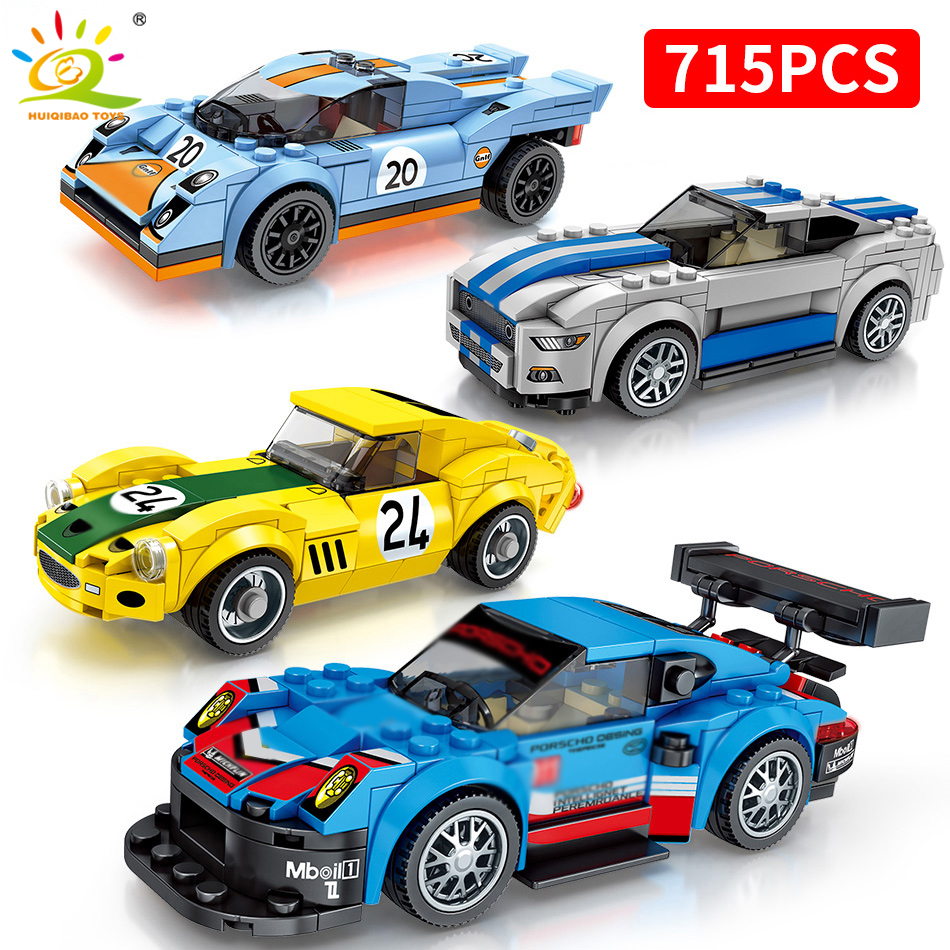 715PCS Super Racers Figures Speed Champions Car Building Blocks Legoing Speed City Bricks Education Toys For Children