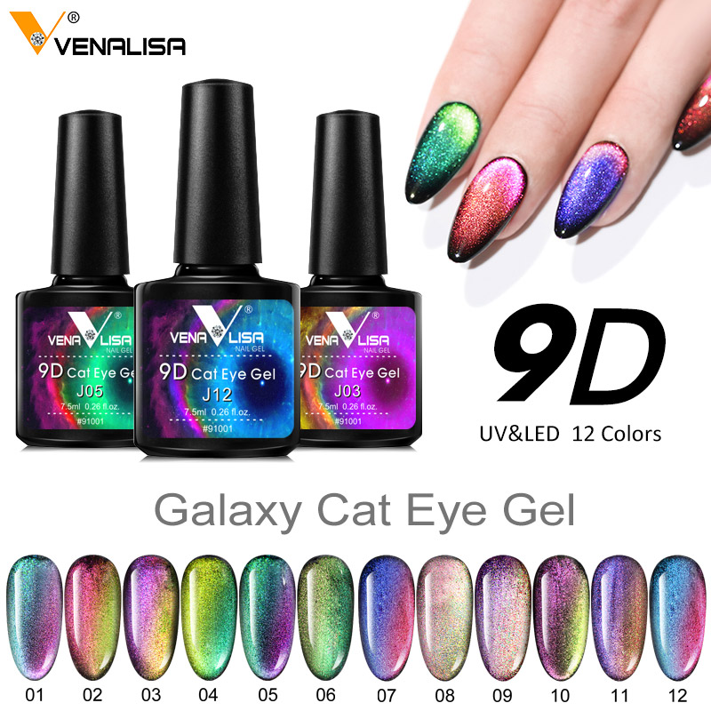 Venalisa New Arrival 9D Gel Varnish Cat Eye Magic Chameleon Nail Art Manicure Galaxy Starry Magnetic Multicolor Nail Gel Polish