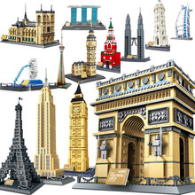 Architecture London Paris Eiffel Tower Taj Mahal sets City capitol eiffel building kits bricks blocks WanGe expert creator