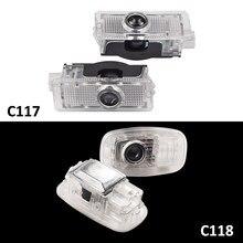 2 pçs led carro cortesia porta lâmpada para mercedes benz cla classe c117 c118 180 200 220 250 35 45 amg auto interior luz projetor