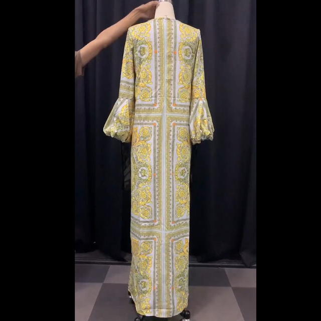 Autumn Long Sleeve Maxi Dress African Ladies Rich Bazin Golden Print Vintage Plus Size 3XL Floor Length Women Party Long Dress 5