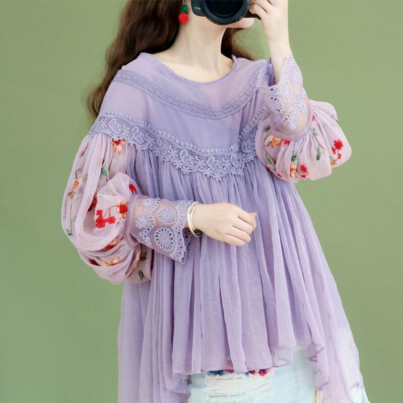 Оригинальный дизайн AIGYPTOS весенние женские милые элегантные фиолетовые блузки женские винтажные шифоновые рубашки с вышивкой и рукавами фо