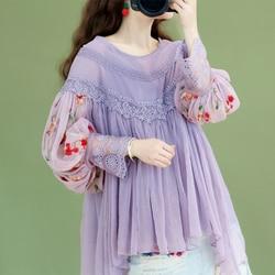 Оригинальный дизайн AIGYPTOS весенние женские милые элегантные фиолетовые блузки женские винтажные шифоновые рубашки с вышивкой и рукавами-фо...