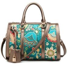 Quality Printed Lady Tote Bohemia Floral Boston Leather Crossbody Bag Sac A Main Borse Luxury Designer Shoulder