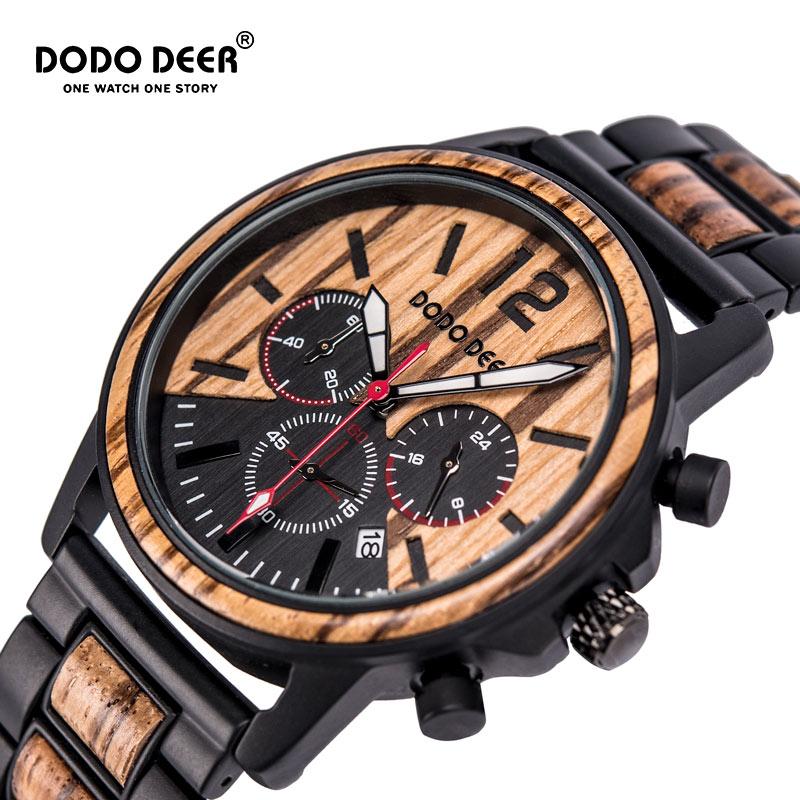 DODO DEER Luxury Wood Stainless Steel Men Watches Style Wooden Timepieces Chronograph Quartz Watch relogio masculino Custom C04|Quartz Watches| |  - title=