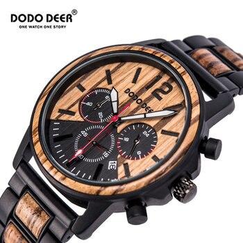 DODO DEER Luxury Wood Stainless Steel Men Watches Style Wooden Timepieces Chronograph Quartz Watch relogio masculino Custom C04