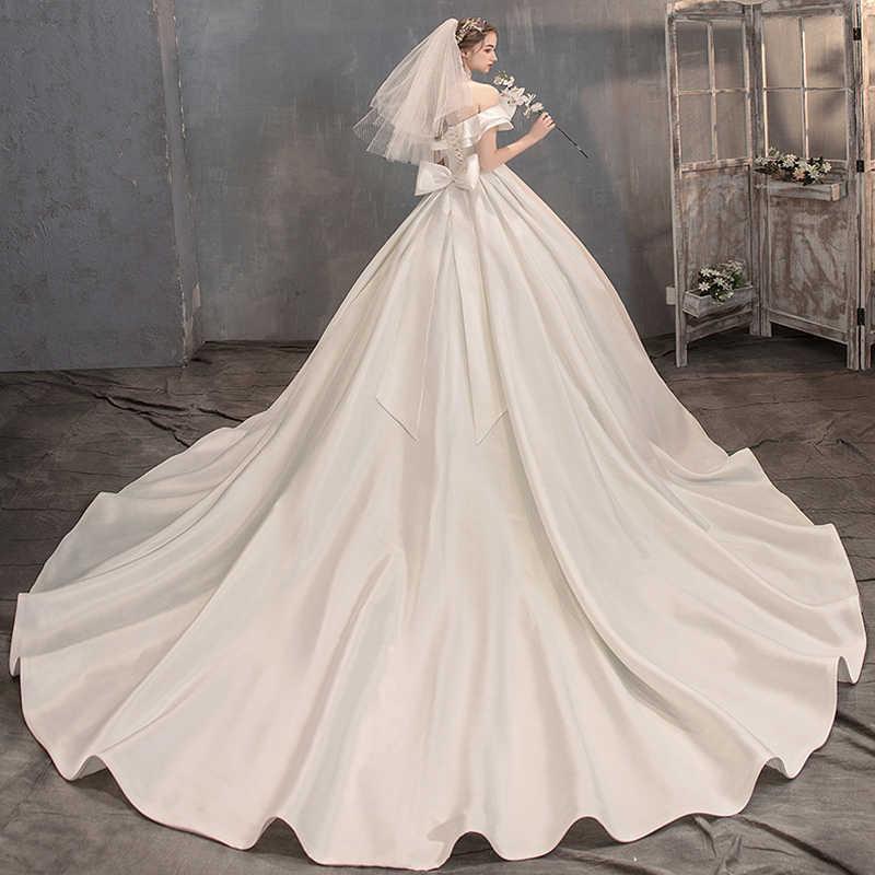 Semplice Tinta Unita In Raso Abiti Da Sposa 2019 Grande Fiocco Avorio Vestido de Noiva Abiti Da Sposa Scollo A Barca Lunga Coda Abito Da Sposa 2020