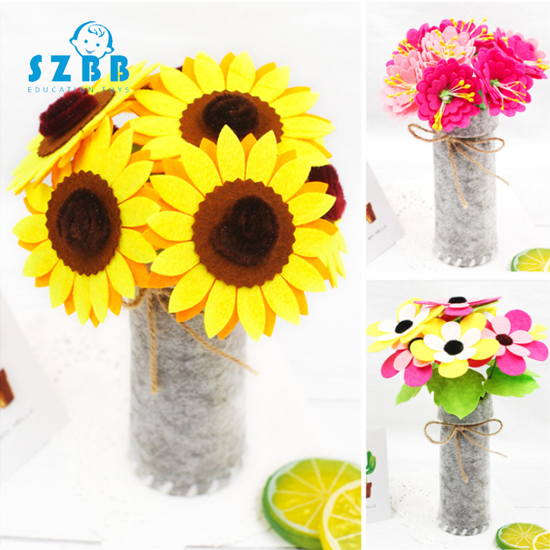 Sz Steam Diy Non-woven Flower Pots Handmade Cloth Diy Material Package Cultivation Simulation Flower Decoration Toys Gifts