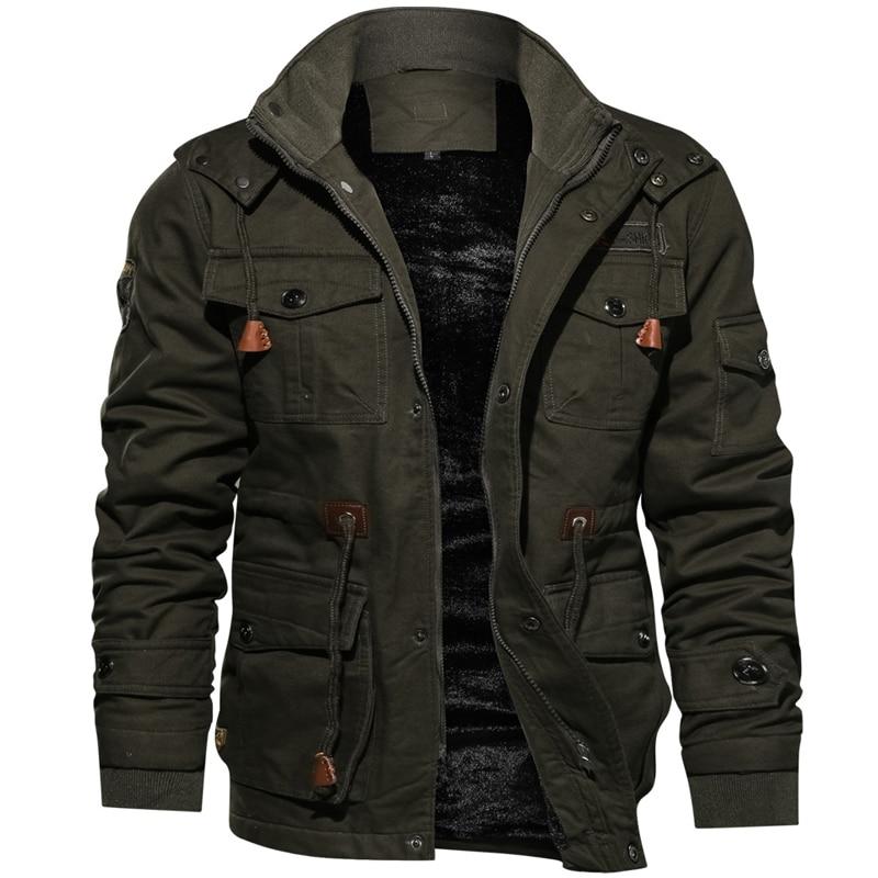 Новинка 2019, зимняя куртка для мужчин, повседневное плотное тепловое пальто, армейская куртка пилота, куртки ВВС, куртка карго, верхняя одежда, флисовая куртка с капюшоном, одежда 4XL - 6