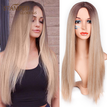 Stamped Glorious 26inches  Straight Synthetic Long Wig Ombre Blonde Wig for Women Middle Part Nature Wigs Heat Resistant Hair wignee hand made front ombre color long blonde synthetic wigs for black white women heat resistant middle part cosplay hair wig