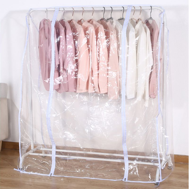 Clear Waterproof Dustproof Zip Clothes Rail Cover Clothing Rack Cover Protector Bag Hanging Garment Suit Coat Storage Display