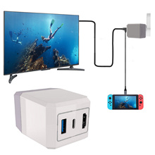 Besegad 2 in 1 AC Adapter Charging TV Dock with Type C Cable for Nintend Switch NS Lite Smartphones to Directly Cast Screen