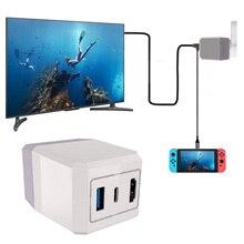 Besegad adaptador de corriente alterna 2 en 1, base de carga para TV con Cable tipo C para teléfonos inteligentes Nintendo Switch NS Lite a pantalla fundida directa