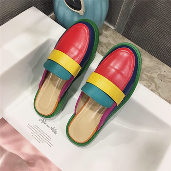 NIUFUNI Fashion Rainbow Color Women's Slippers Shallow Casual Slides Round Head Flat Shoes Slip On 2020 Summer Beach Shoes 3