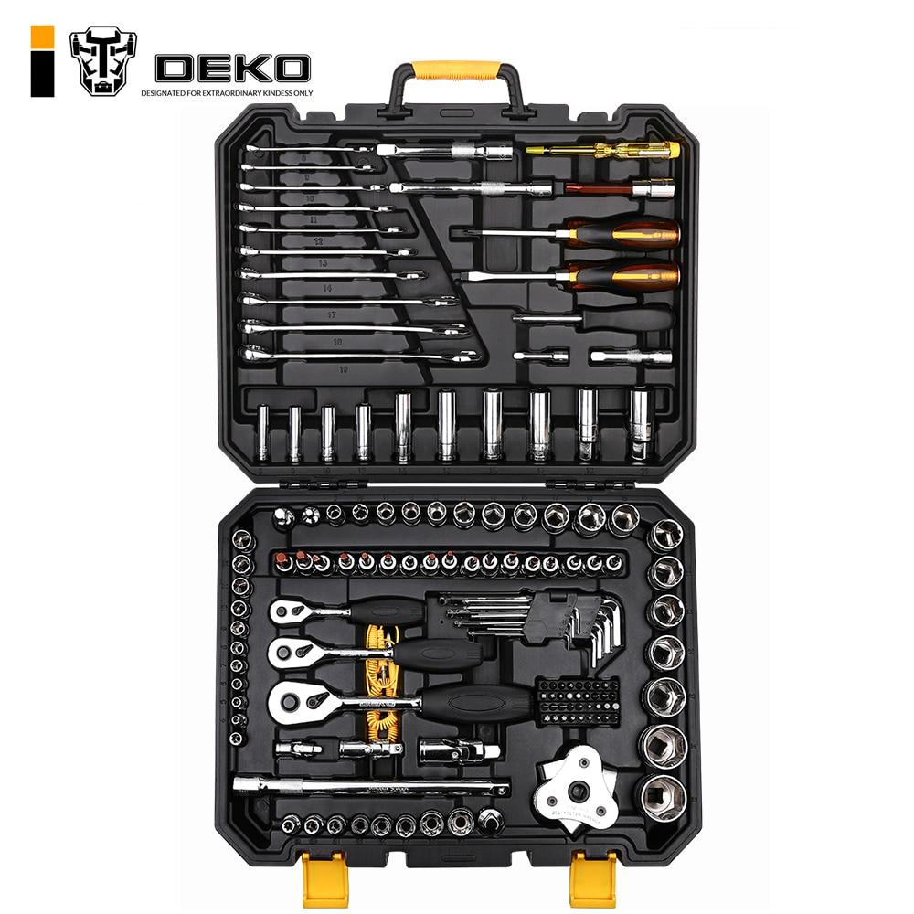 DEKO 140 Pcs Professional Car Repair Tool Set Auto Ratchet Spanner Screwdriver Socket Mechanics Tools Kit W/ Blow-Molding Box