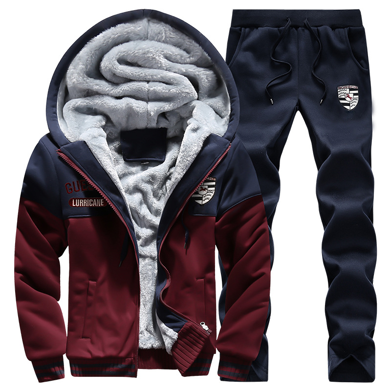 Sports Set Men's Autumn And Winter Hoodie Sweatpants Hooded Brushed And Thick Coat Trousers Running Casual Sports Two-Piece Set