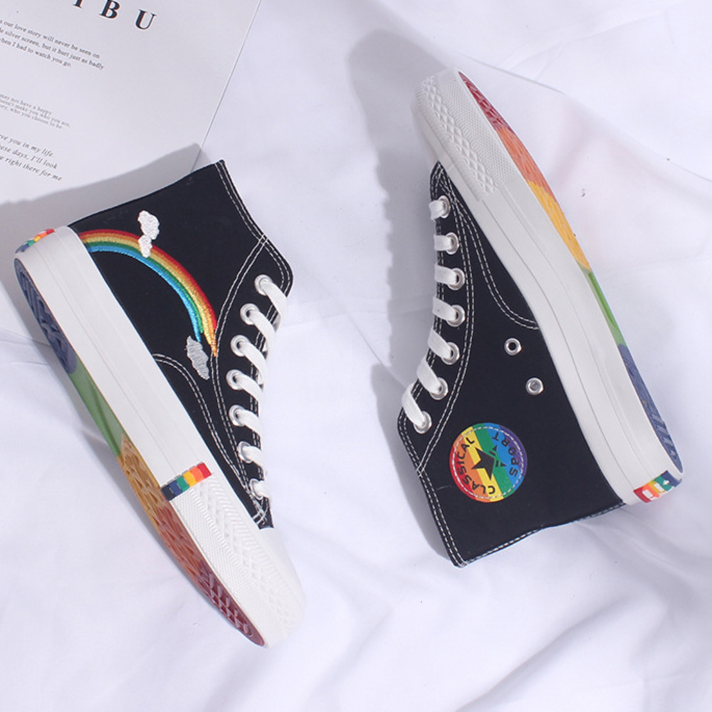 Women Canvas Shoes 2019 Autumn Student High Top White Sneakers Unicorn Cute Cartoon Shoes Woman Sneakers Platform Rainbow