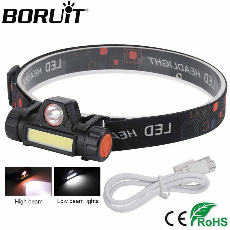 Linterna frontal recargable de CA-101USB LED T6 de BOUiT USB COB, linterna frontal impermeable de 2 modos 18650