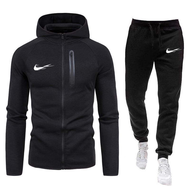 Traje para deporte y ocio para hombre, ropa deportiva de marca para correr, cálido, otoño e invierno, 2021