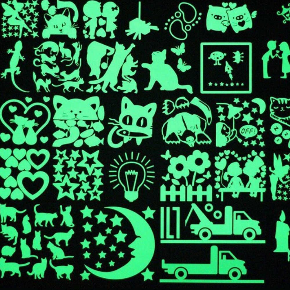 1 Pcs Kartun Bercahaya Switch Stiker Menyala Dalam Gelap Stiker Dinding Dekorasi Rumah Dekorasi Kamar Anak-anak Stiker Kucing