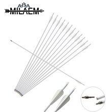 12 Pcs Spine 500 Carbon Arrow OD 8mm ID 6.2 mm White Shaft With 100 Grain Steel Arrowheads Replaceable Archery Arrows