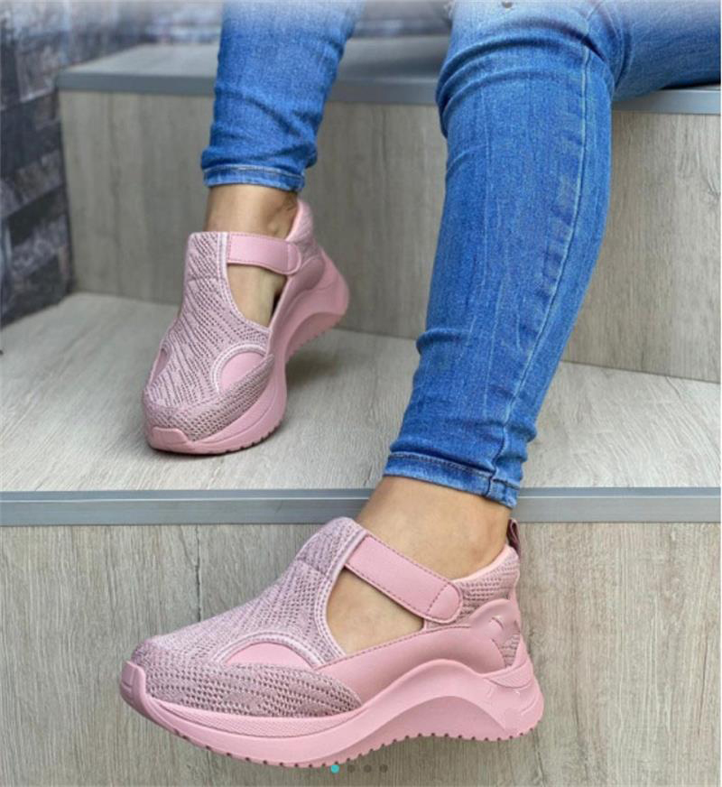 Women's Sneakers 2020 Autumn Fashion Hollow Woman Shoes Plus Size Outdoor Running Vulcanized Shoes Solid Buckle Women Wedges