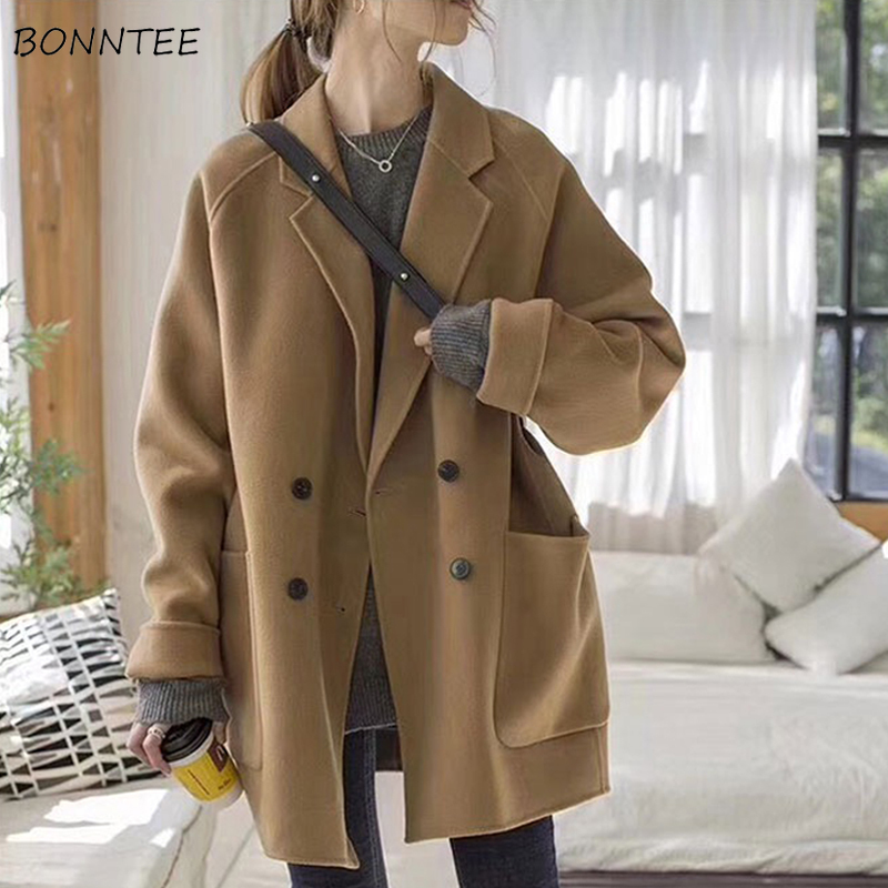 Blends Women Mid-long Woolen Solid Elegant Loose 2XL Double Breasted Simple Leisure Womens Vintage Outwear Winter High Quality