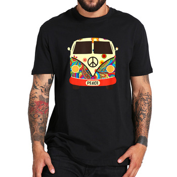Hippies Peace And Love Vintage T Shirt Trip Car Graphic Hippy Festival Tshirt EU Size 100% Cotton Graphic Print Tops Tee