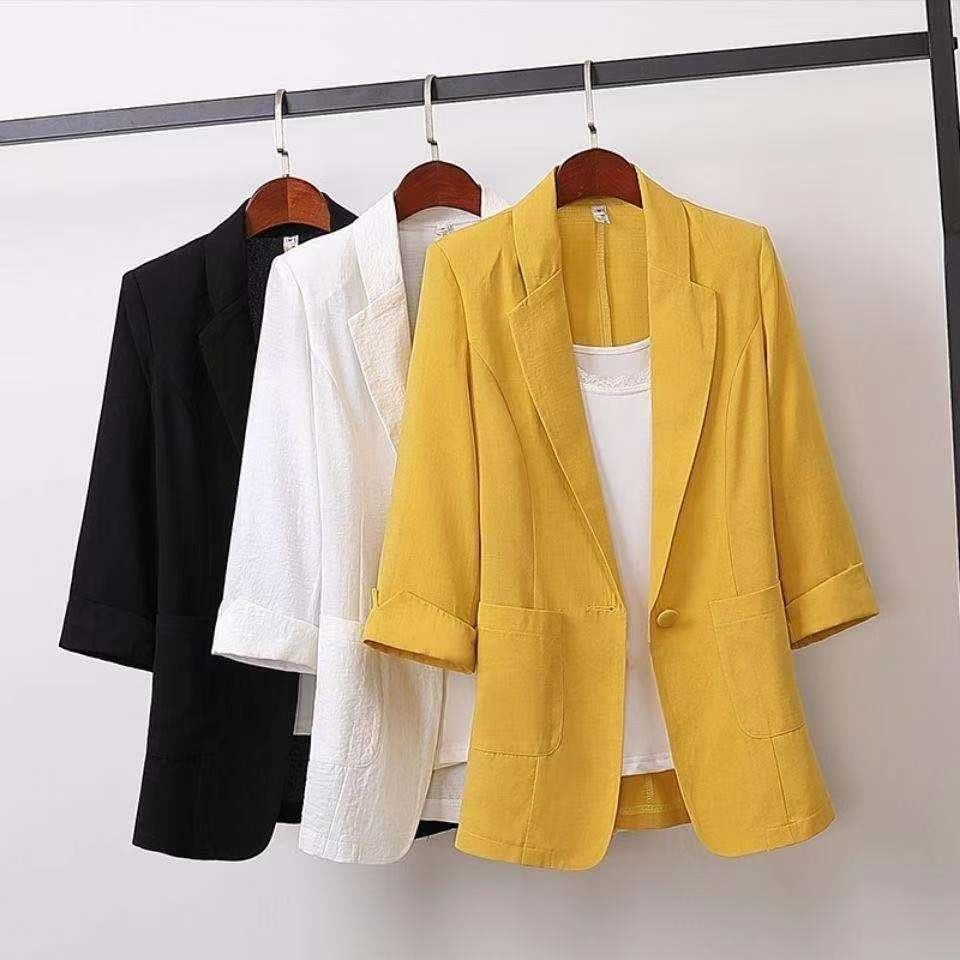 Summer Clothing Women Jacket Coat Cotton And Linen Suits Long Large Size Blazer Loose Casual Fashion Suit Women's Clothing