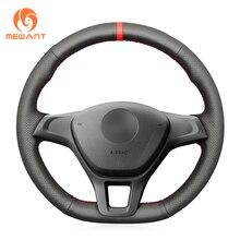 MEWANT Black Genuine Leather Steering Wheel Cover for Volkswagen VW Golf 7 (VII) Golf Sportsvan(SV) Polo Tiguan Allspace Up!