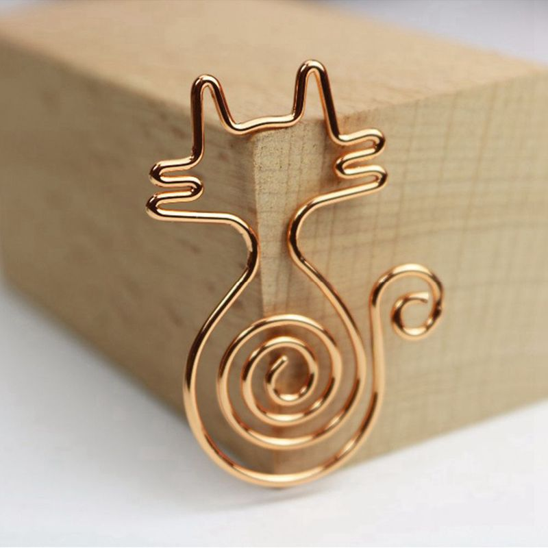 Rose Gold 8pcs/box Kawaii Cat Paper Clips Bookmark Planner Tools Scrapbooking Tools Binder Paper Clip