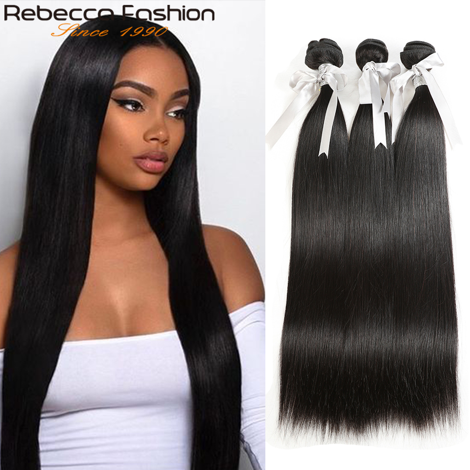 Rebecca Straight Hair Bundles Deals Peruvian 100% Human Hair Weave Bundles 8 To 28 Inch Straight Human Hair ExtensionsSalon Bundle Hair   -