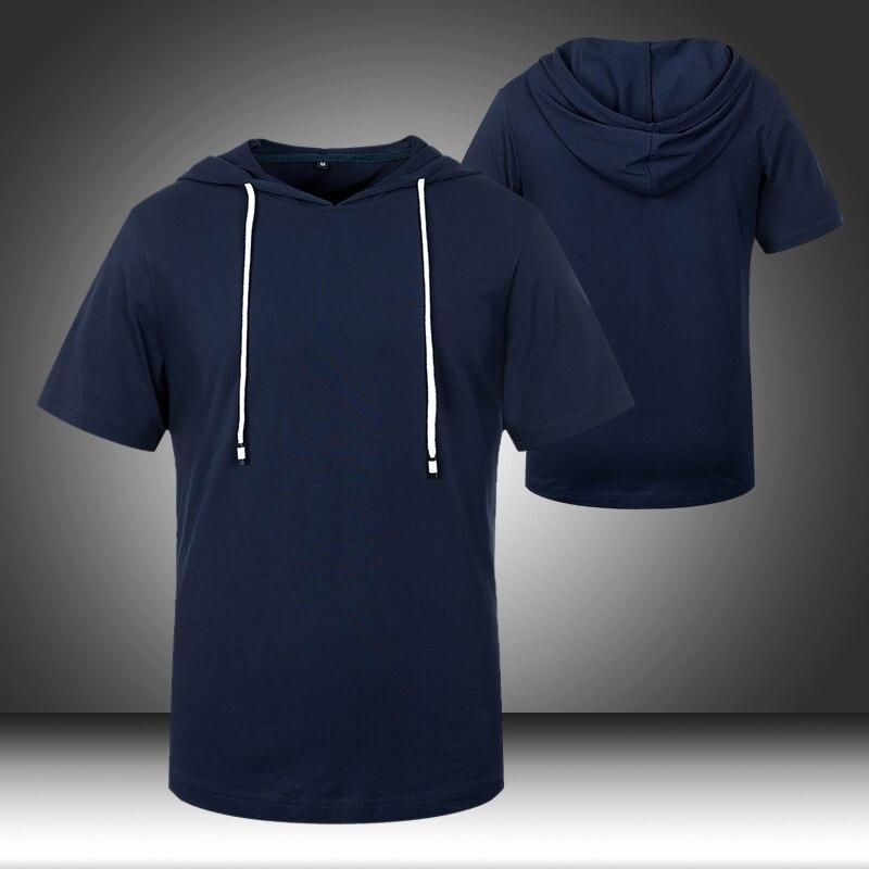 2020 Hood Men's T Shirt Summer Tee Extended Round Sweep Hooded T-Shirt Solid Color Long Tops Hip Hop Men Long Tshirt Streetwear
