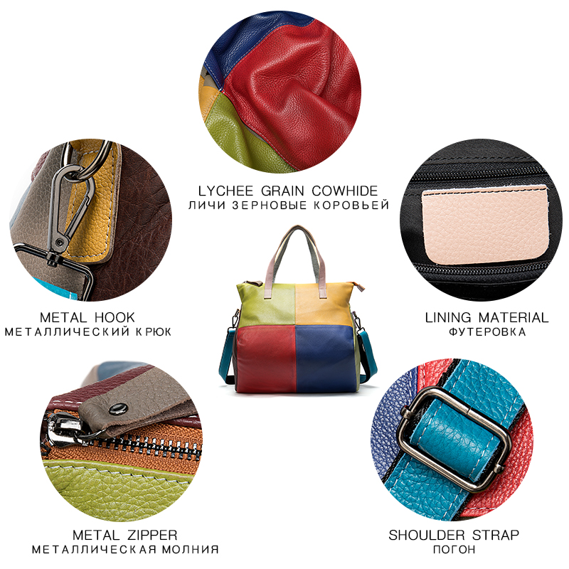 Image 5 - WESTAL handbags womens genuine leather large bag for women  messenger/shoulder bags patchwork handbags leather totes bags  9135Top-Handle Bags