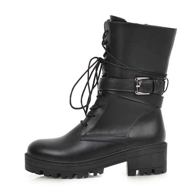 FITWEE Frauen Plus Größe 34-46 Schwarz Weiß Stiefeletten Plattform Chunky Heels Mode Motorrad Stiefel Casual Täglichen Schuhe frau