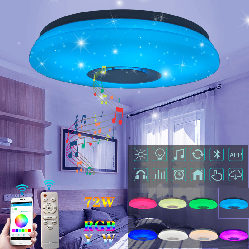 LED Wireless Bluetooth Speaker Loundspeaker Player with APP + Remote Control RGB Dimmable Ceiling Light Panel Lamp For Bedroom