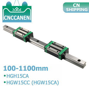 1 Uds HGR15 HGH15 carril de guía lineal cuadrado cualquier longitud + 2 uds Carro de bloque deslizante HGH15CA /Flang HGW15CC CNC partes Router grabado