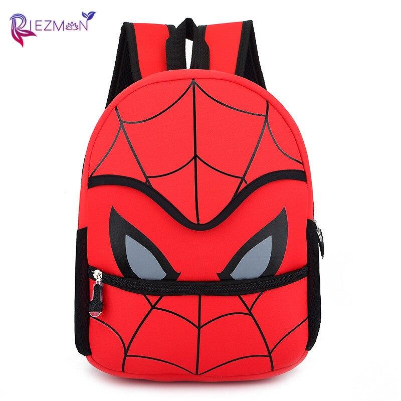 Riezman New 3D Children's School Bags For Boys Spider Man Backpack Kids Cute Cartoon Bookbags Backpacks Small Satchel Knapsack