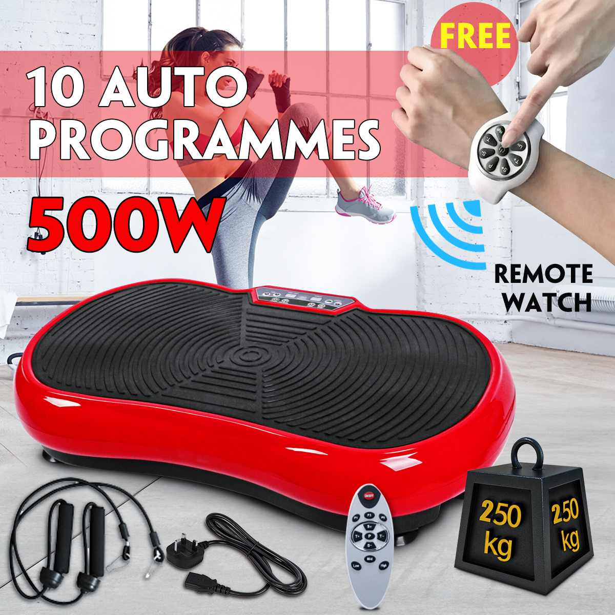 250KG Max Bearing Exercise Fitness Slim Vibration Machine Trainer Plate Platform Body Shaper +Remote Watch+ RC+Resistance Band