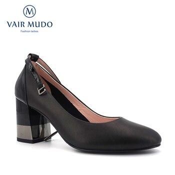 VAIR MUDO Autumn Women's Pumps Shoes Genuine Leather Woman High Heels Ankle Female Platform  Women Shoes  Ladies Footwear D108
