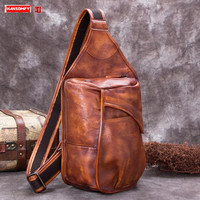 Vintage Leather Men's Chest Bag Shoulder Messenger Bags First Layer Cowhide Male Men Large Capacity Verticle Square Slit Pocket