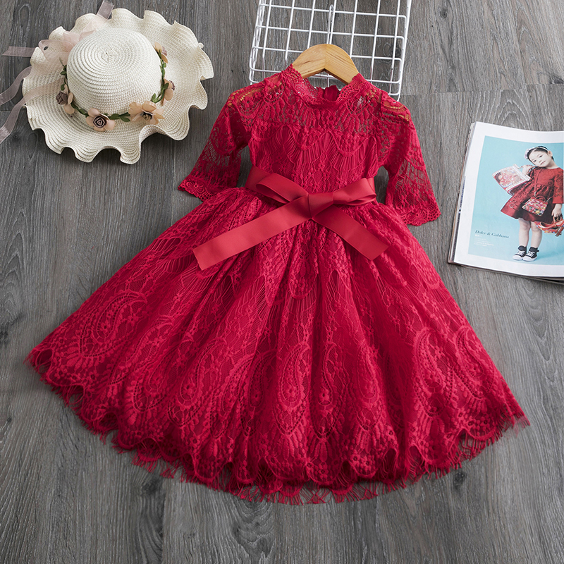 Red Kids Dresses For Girls Flower Lace Tulle Dress Wedding Little Girl Ceremony Party Birthday Dress Children Autumn Clothing image