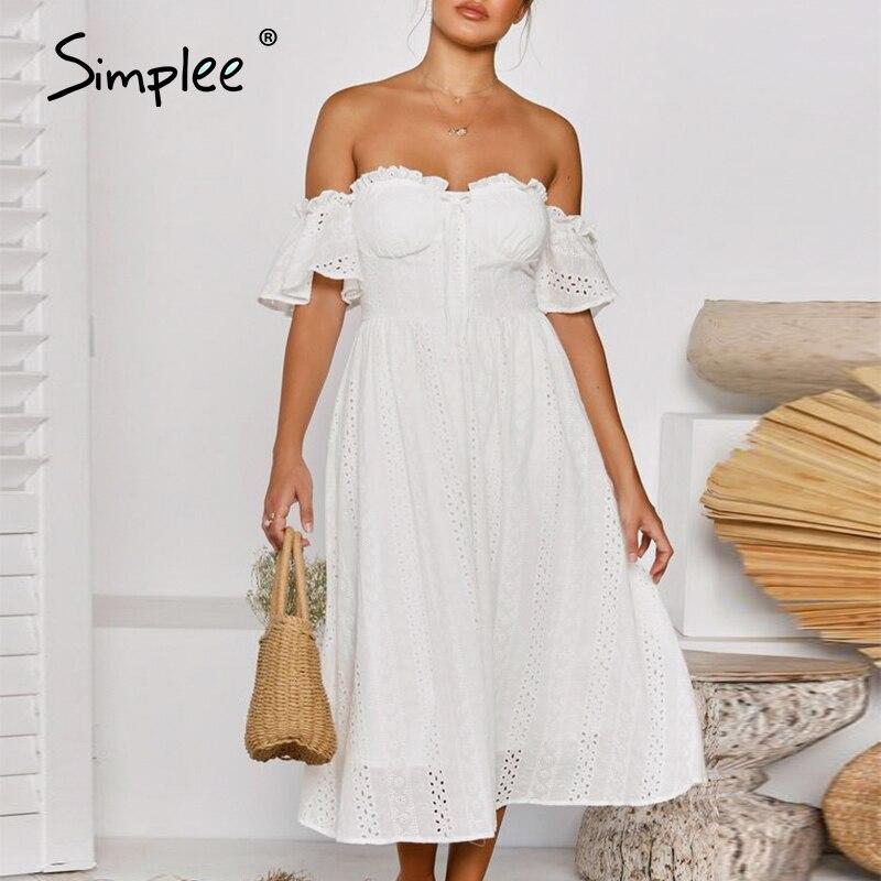 Simplee Holiday Off Shoulder Women White Cotton Dress Elegant Ruffle Sleeve A-line Female Sundress Beach Style Ladies Midi Dress