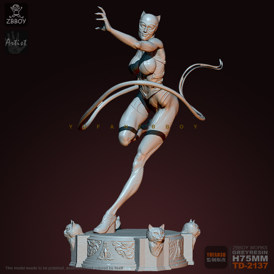 75mM Resin Figure Kits Catwoman Whip Model Self-assembled TD-2137