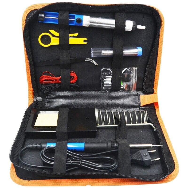 60W Adjustable Temperature Electric Iron Kit Backlight Digital Multimeter Welding Assistant Kit Welding Repair Tool US Plug